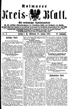 Kolmarer Kreisblatt vom 10.01.1894