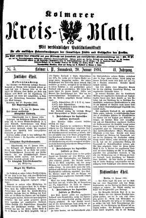 Kolmarer Kreisblatt vom 20.01.1894