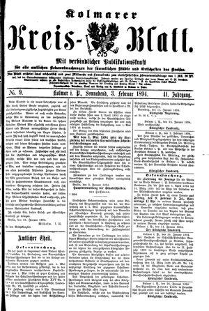 Kolmarer Kreisblatt vom 03.02.1894