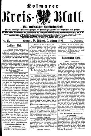 Kolmarer Kreisblatt vom 07.02.1894