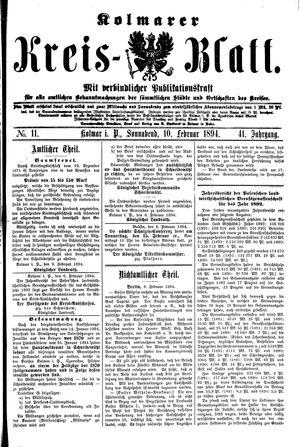 Kolmarer Kreisblatt vom 10.02.1894