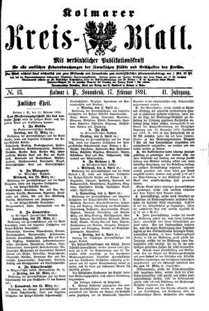 Kolmarer Kreisblatt vom 17.02.1894