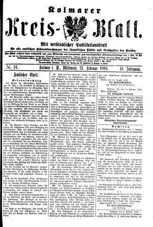 Kolmarer Kreisblatt vom 21.02.1894