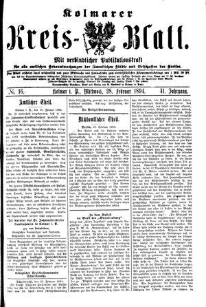 Kolmarer Kreisblatt vom 28.02.1894