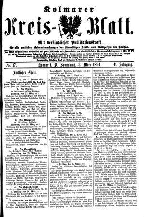 Kolmarer Kreisblatt vom 03.03.1894