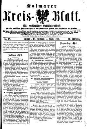 Kolmarer Kreisblatt vom 07.03.1894