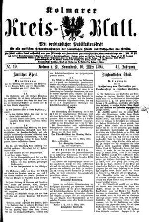 Kolmarer Kreisblatt on Mar 10, 1894