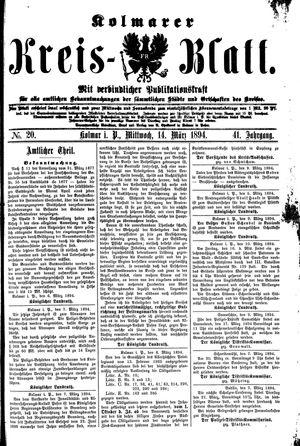 Kolmarer Kreisblatt vom 14.03.1894