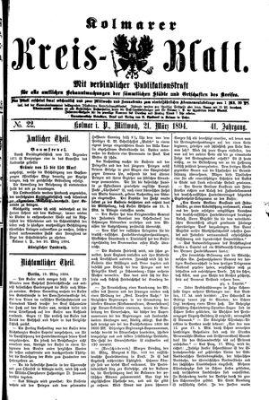 Kolmarer Kreisblatt vom 21.03.1894