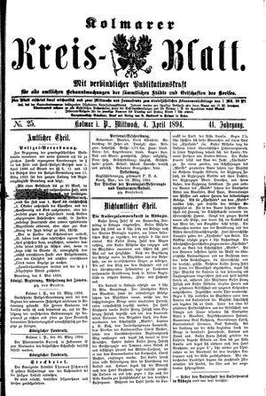 Kolmarer Kreisblatt vom 04.04.1894