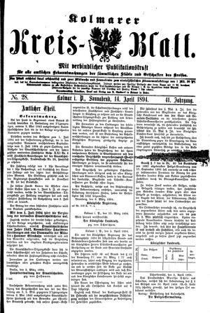 Kolmarer Kreisblatt vom 14.04.1894