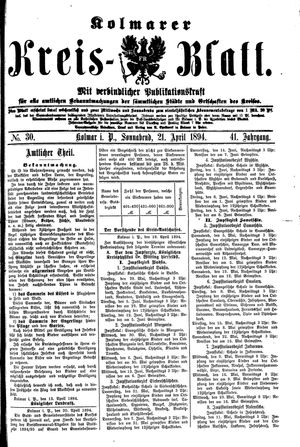 Kolmarer Kreisblatt vom 21.04.1894