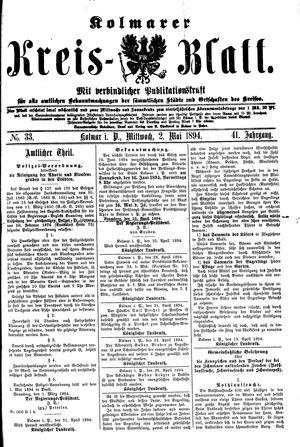 Kolmarer Kreisblatt vom 02.05.1894