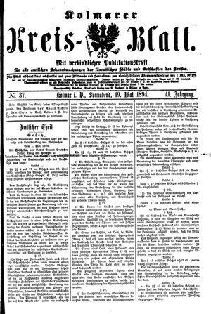 Kolmarer Kreisblatt vom 19.05.1894