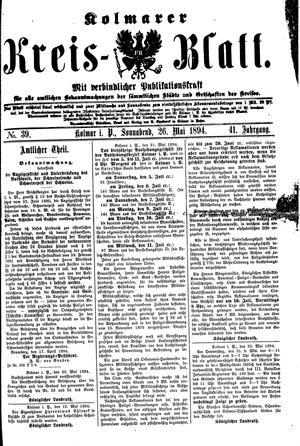 Kolmarer Kreisblatt vom 26.05.1894