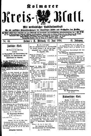 Kolmarer Kreisblatt vom 13.06.1894