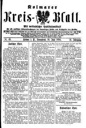 Kolmarer Kreisblatt vom 16.06.1894