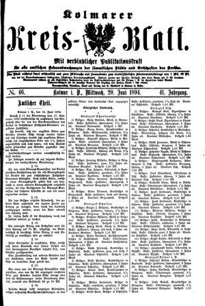 Kolmarer Kreisblatt vom 20.06.1894