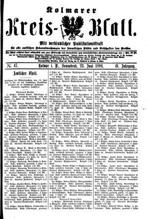 Kolmarer Kreisblatt vom 23.06.1894