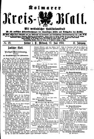 Kolmarer Kreisblatt vom 27.06.1894