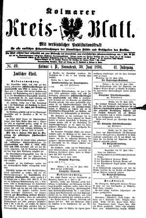 Kolmarer Kreisblatt vom 30.06.1894