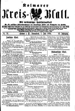 Kolmarer Kreisblatt vom 07.07.1894
