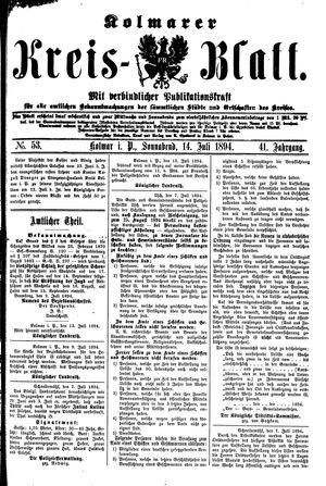 Kolmarer Kreisblatt vom 14.07.1894