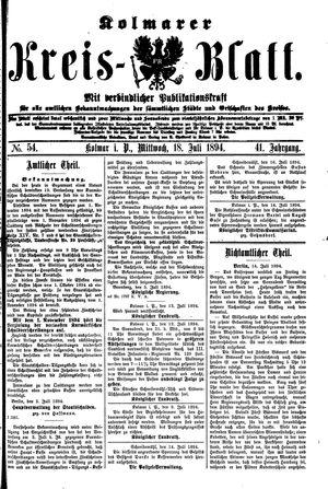 Kolmarer Kreisblatt vom 18.07.1894