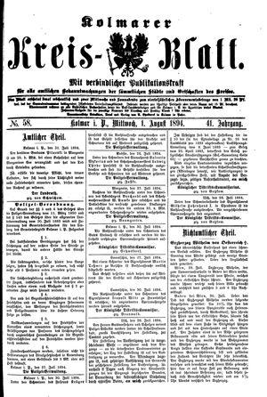Kolmarer Kreisblatt vom 01.08.1894
