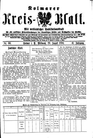 Kolmarer Kreisblatt on Aug 29, 1894