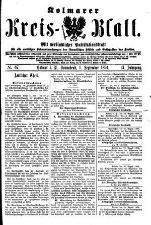 Kolmarer Kreisblatt vom 01.09.1894