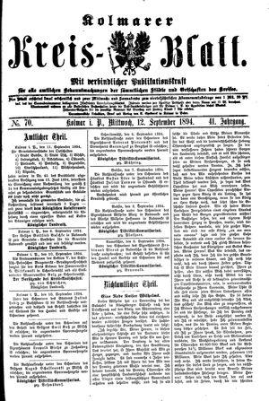 Kolmarer Kreisblatt vom 12.09.1894