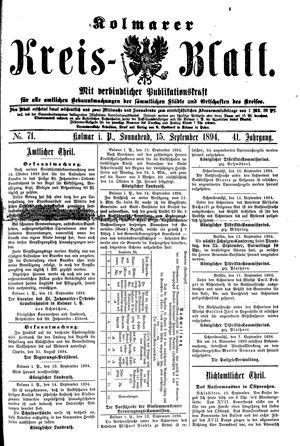 Kolmarer Kreisblatt vom 15.09.1894
