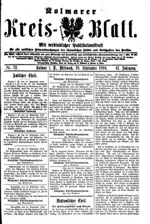 Kolmarer Kreisblatt vom 19.09.1894