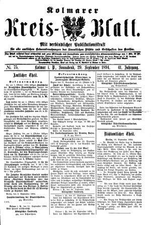 Kolmarer Kreisblatt vom 29.09.1894