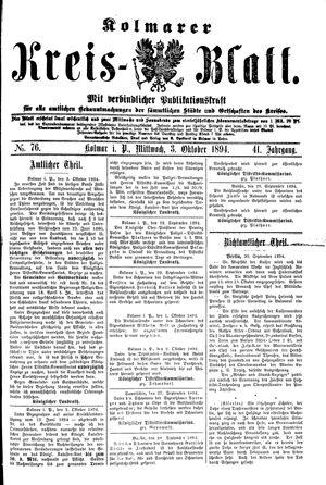 Kolmarer Kreisblatt vom 03.10.1894