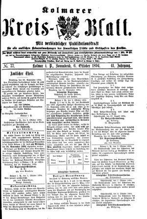 Kolmarer Kreisblatt vom 06.10.1894