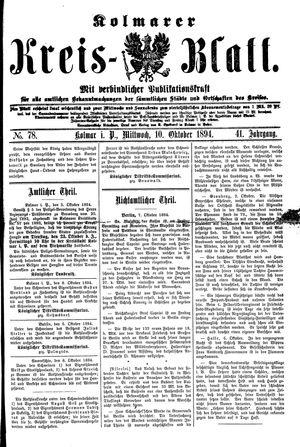 Kolmarer Kreisblatt vom 10.10.1894