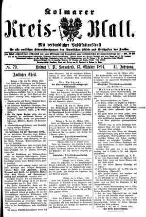 Kolmarer Kreisblatt vom 13.10.1894