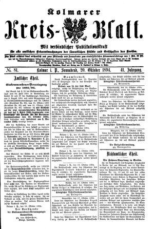 Kolmarer Kreisblatt vom 20.10.1894