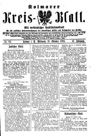 Kolmarer Kreisblatt vom 31.10.1894