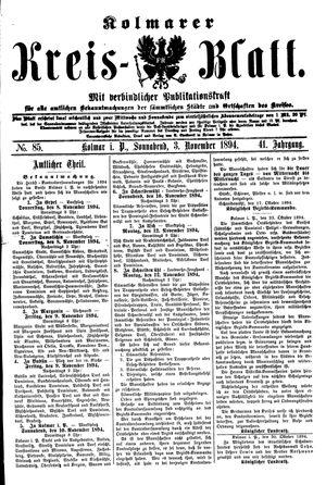 Kolmarer Kreisblatt vom 03.11.1894