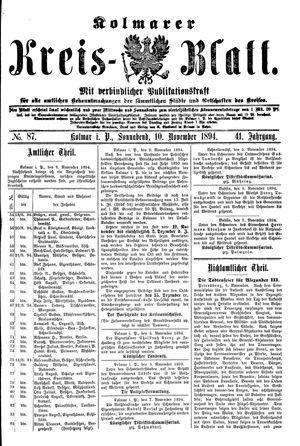 Kolmarer Kreisblatt vom 10.11.1894