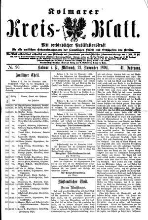 Kolmarer Kreisblatt vom 21.11.1894