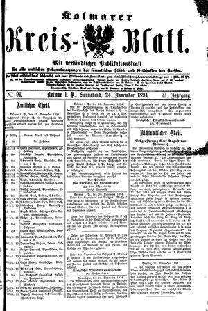 Kolmarer Kreisblatt vom 24.11.1894