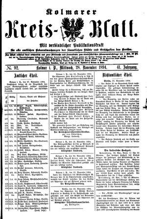 Kolmarer Kreisblatt vom 28.11.1894