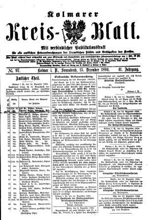 Kolmarer Kreisblatt vom 15.12.1894