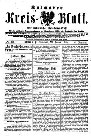 Kolmarer Kreisblatt vom 29.12.1894