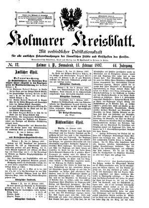 Kolmarer Kreisblatt vom 13.02.1897