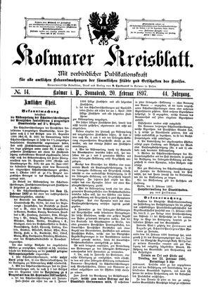 Kolmarer Kreisblatt vom 20.02.1897